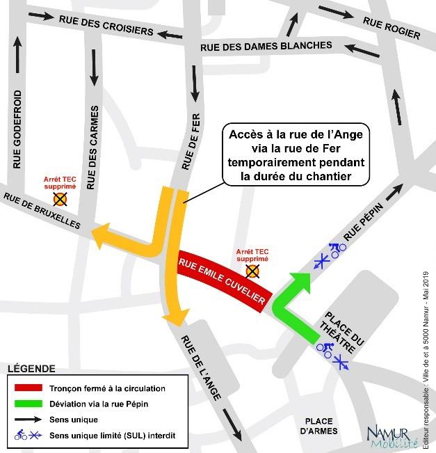 Plan de déviation travaux Namur