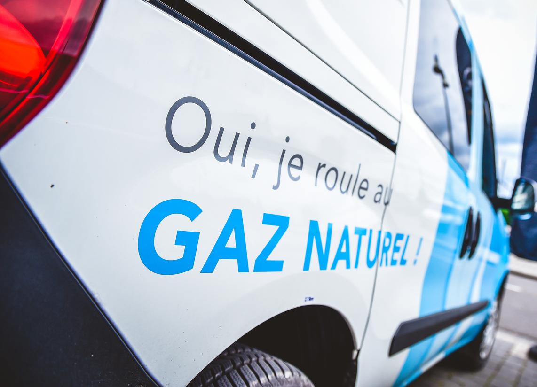 Les voitures d'ORES sont aussi équipées du gaz naturel comme carburant.