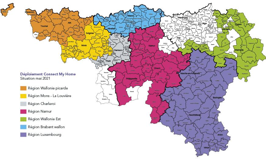 Carte des localités où le service Connect My Home est disponible