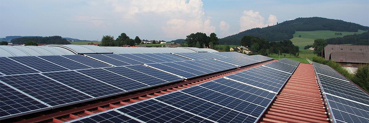 des panneaux solaires sont installés sur le toit d'un entrepot